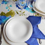 """Для дома и интерьера ручной работы. Ярмарка Мастеров - ручная работа Комплект столового белья """"Синие пионы"""" (столовая дорожка и салфетки). Handmade."""