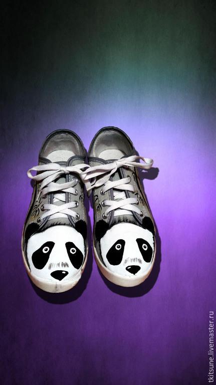 """Обувь ручной работы. Ярмарка Мастеров - ручная работа. Купить Кеды низкие текстильные """"Панда"""". Handmade. Разноцветный, кеды с рисунком"""