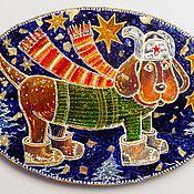 Картины и панно ручной работы. Ярмарка Мастеров - ручная работа Собака в ушанке Картина акрилом на дереве. Handmade.