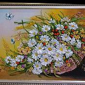 Картины ручной работы. Ярмарка Мастеров - ручная работа Картины: Картина вышивка лентами  Лето в корзине. Handmade.