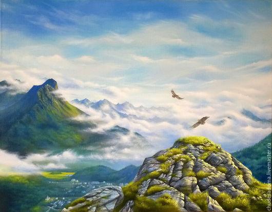 """Пейзаж ручной работы. Ярмарка Мастеров - ручная работа. Купить Картина маслом """"Небо над горами"""", большой размер. Handmade. Голубой"""