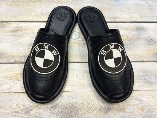 """Обувь ручной работы. Ярмарка Мастеров - ручная работа. Купить Кожаные тапочки """" BMW""""- black. Handmade. Bmw"""