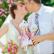 Куклы и игрушки handmade. Livemaster - original item Margaret and Leon, author`s textile doll, wedding gift. Handmade.