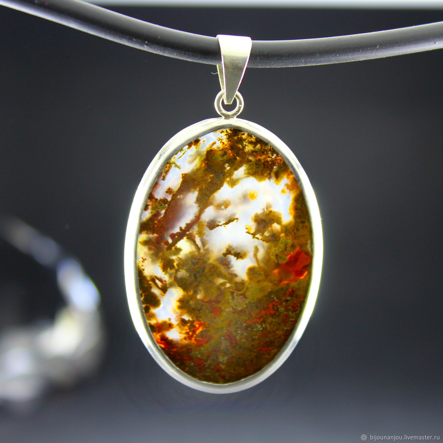 Pendant with natural oval agate in a frame of 925 silver, Pendants, Yerevan,  Фото №1