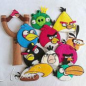"""Для дома и интерьера ручной работы. Ярмарка Мастеров - ручная работа Набор подвесок и  верхушка в виде рогатки для елки """"Angry Birds"""". Handmade."""