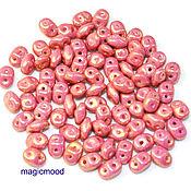 Материалы для творчества handmade. Livemaster - original item 5g country of origin: Czech LK03000 2,5h5 mm, pink crysta Superduo metal Czech beads. Handmade.