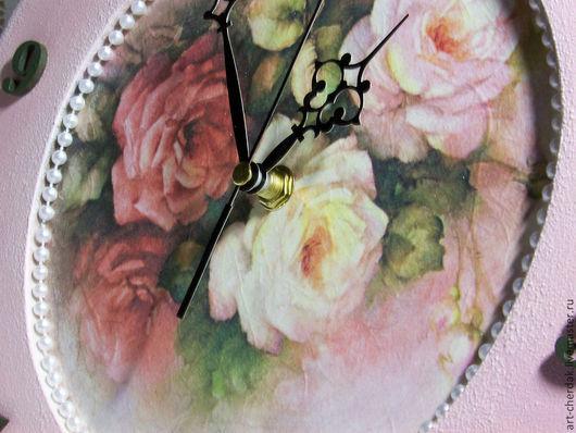 """Часы для дома ручной работы. Ярмарка Мастеров - ручная работа. Купить Часы настенные """"Розовый щербет"""". Handmade. Бледно-розовый"""