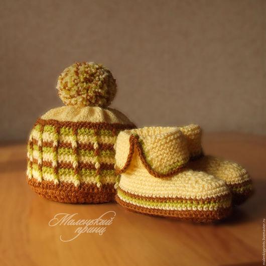 Для новорожденных, ручной работы. Ярмарка Мастеров - ручная работа. Купить комплект для малыша Желтое и коричневое. Handmade. Лимонный, зеленый
