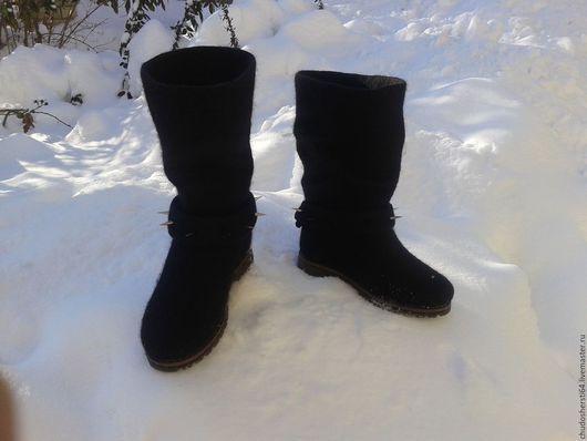 Обувь ручной работы. Ярмарка Мастеров - ручная работа. Купить Сапоги валяные. Handmade. Черный, женские валенки, черные валенки
