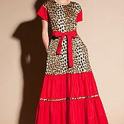 Одежда ручной работы. Ярмарка Мастеров - ручная работа Хлопковое бохо испанское макси леопардовое платье с поясом. Handmade.