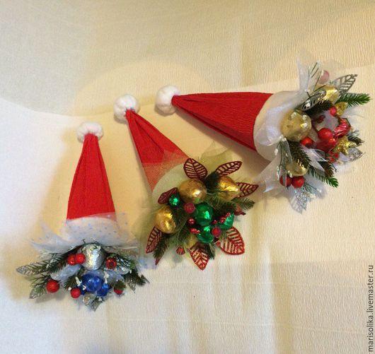 Кулинарные сувениры ручной работы. Ярмарка Мастеров - ручная работа. Купить Новогодние колпаки-букеты Деда Мороза. Handmade.