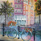 """Картины и панно ручной работы. Ярмарка Мастеров - ручная работа Картина маслом пейзаж городской, """"Амстердам"""" сиреневый. Handmade."""