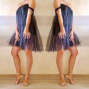Одежда ручной работы. Ярмарка Мастеров - ручная работа Платье темно синее из фатина. Handmade.
