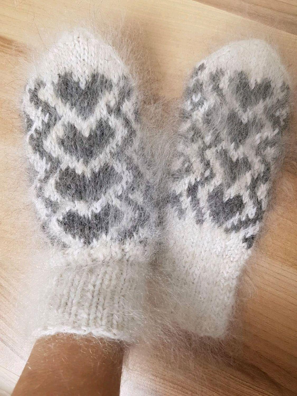 LOVE IS ...  Down mittens handmade women's Mittens made of goat down, Mittens, Volgograd,  Фото №1