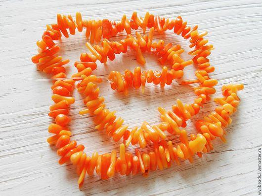 Коралл игольчатый (палочки), размер 5-11*1-3 мм, отверстие ок. 0,5 мм, цвет ОРАНЖЕВЫЙ (арт. 1874)
