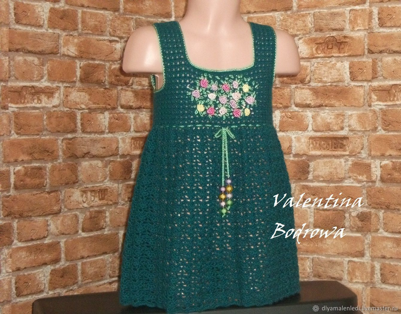 Clothes for Girls handmade. Livemaster - handmade. Buy Half-woolen sundress for girls.Dark green, embroidery manual