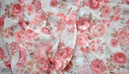Текстиль, ковры ручной работы. Ярмарка Мастеров - ручная работа. Купить тюль ткань шторы в стиле прованс или шебби крупный цветок. Handmade.