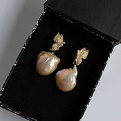 Украшения handmade. Livemaster - original item Pearls Baroque Earrings Pearls Light Kasumi analog. Handmade.