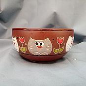 handmade. Livemaster - original item Ceramic bowl handmade: Curious cats in tulips. Handmade.
