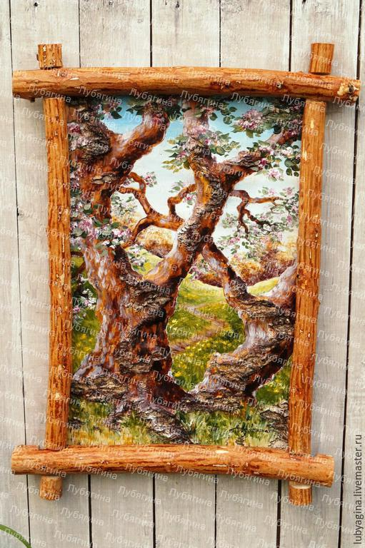 """Пейзаж ручной работы. Ярмарка Мастеров - ручная работа. Купить """"Яблони в цвету"""" картина на бересте. Handmade. Разноцветный, картина в подарок"""