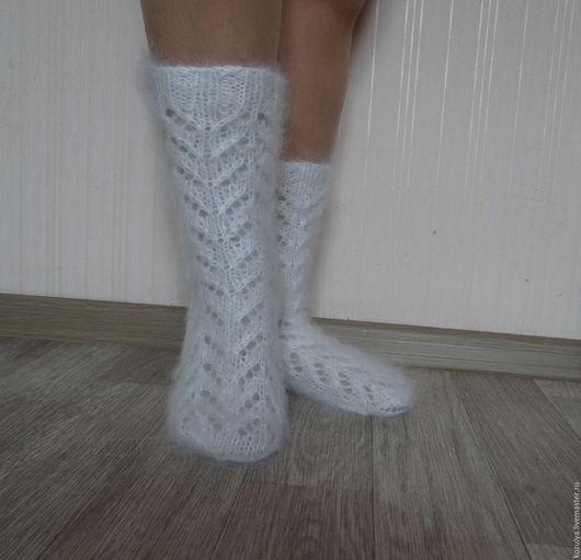 Носки,чулки ручной работы Белые пуховые носки.Пуховое царство  от Татьяны.Ярмарка мастеров.