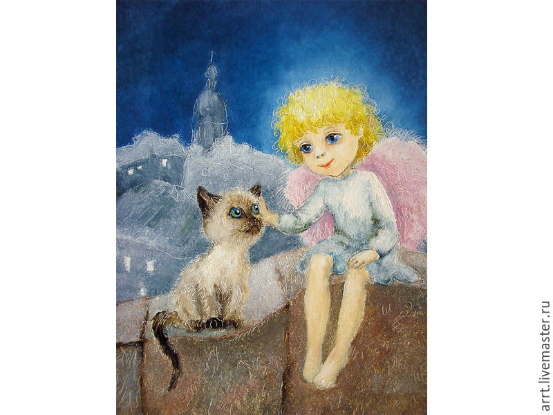 Christmas card angel and Siamese kitten – shop online on Livemaster ...