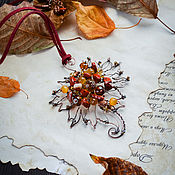 Украшения handmade. Livemaster - original item Copper pendant Autumn Leaf Pendant with red Jasper Red Orange. Handmade.