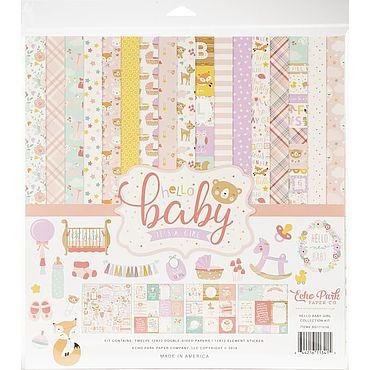 Материалы для творчества ручной работы. Ярмарка Мастеров - ручная работа Бумага Echo Park Collection Kit 30х30 см Hello Baby Girl. Handmade.