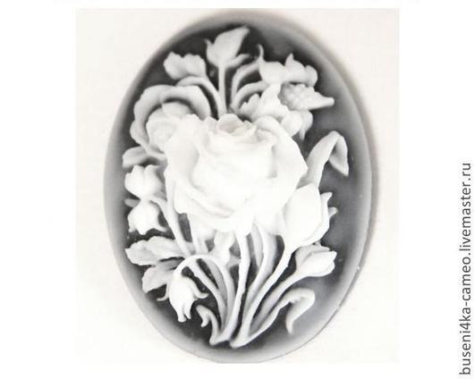 Для украшений ручной работы. Ярмарка Мастеров - ручная работа. Купить Камея Морозные цветы на черном 30х40мм (пластик) 1шт.. Handmade.