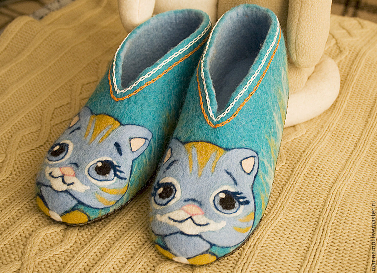 Children's felted Slippers 'Kitty', Slippers, Miass,  Фото №1