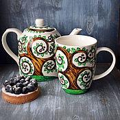 """Посуда ручной работы. Ярмарка Мастеров - ручная работа """"Кельтский дуб"""" - чайный набор (0169). Handmade."""