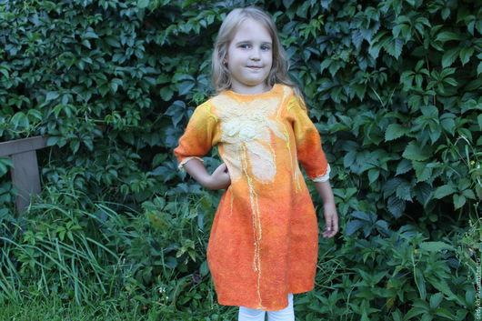 Одежда для девочек, ручной работы. Ярмарка Мастеров - ручная работа. Купить Детское валяное платье Огневушка 2. Handmade. Рыжий