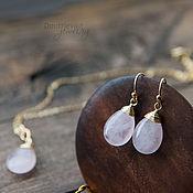 Украшения handmade. Livemaster - original item Set pendant and earrings with pink quartz or amethyst. Handmade.