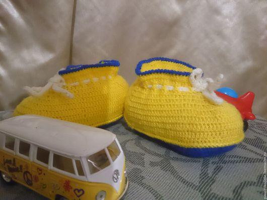 Детская обувь ручной работы. Ярмарка Мастеров - ручная работа. Купить Вязаные крючком пинетки на заказ. Handmade. Пинетки вязаные