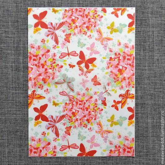 ДК-889315. Карта для декупажа `Бабочки в цветах`.