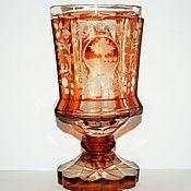 Винтаж handmade. Livemaster - original item Biedermeier Cup honey glass engraving 19th century Bohemia. Handmade.