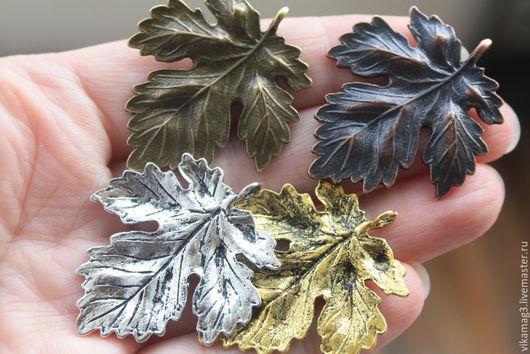 Для украшений ручной работы. Ярмарка Мастеров - ручная работа. Купить Подвеска Лист крупная, медь, бронза, латунь, серебро. Handmade.
