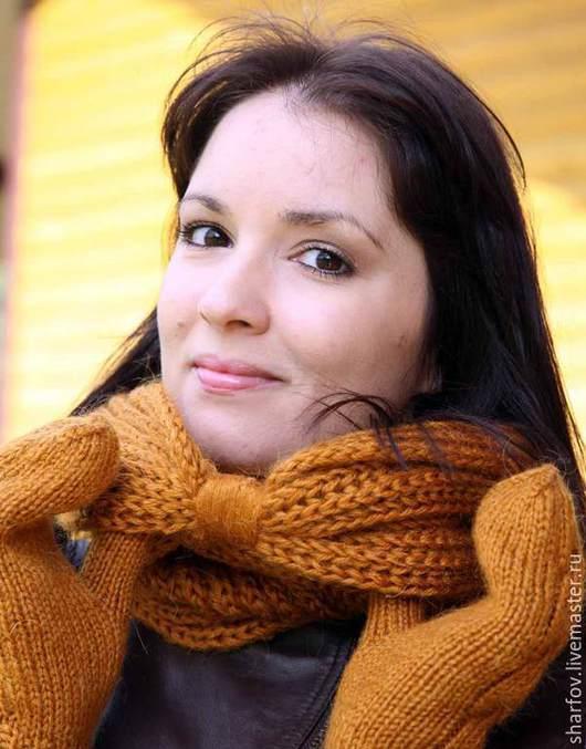 Комплект шарф и варежки, шапка шарф варежки, шарф и варежки, вязаные варежки, снуды, снуды вязаные, снуды вязанные, снуд валяный.