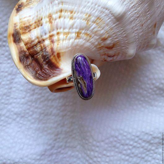 Кольца ручной работы. Ярмарка Мастеров - ручная работа. Купить Кольцо с чароитом. Handmade. Фиолетовый, чароит, кольцо из серебра