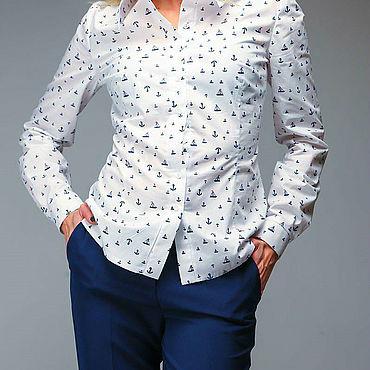 Одежда ручной работы. Ярмарка Мастеров - ручная работа Рубашка женская якоря. Handmade.