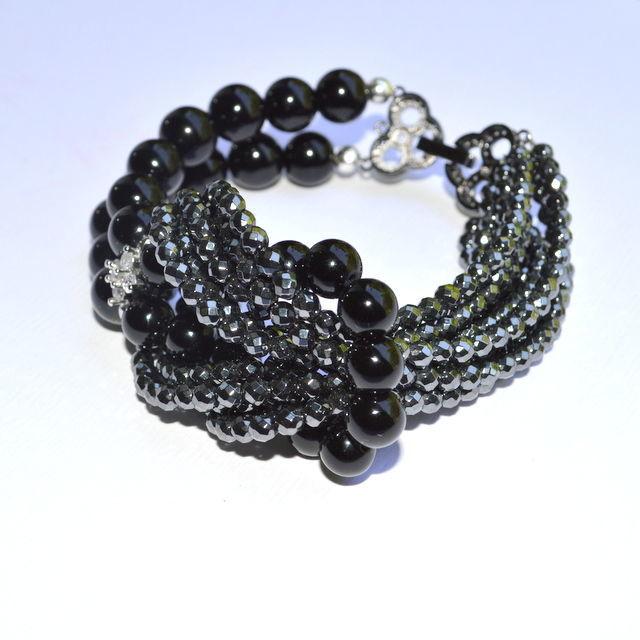 Bracelet BLACK ONYX Hand made author`s work Buy a black bracelet Buy a bracelet from natural stones Order a bracelet as a gift