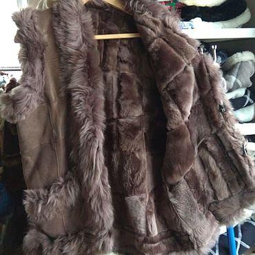 Одежда ручной работы. Ярмарка Мастеров - ручная работа Кожаный меховой жилет 52.Овчина. Handmade.