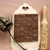 Для дома и интерьера ручной работы. Ярмарка Мастеров - ручная работа Скалка для печатных пряников и печенья цветы. Handmade.