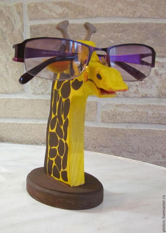 Статуэтки ручной работы. Ярмарка Мастеров - ручная работа. Купить Подставка  для очков - ЖИРАФ. Handmade. Желтый, сувенир, деревянная подставка