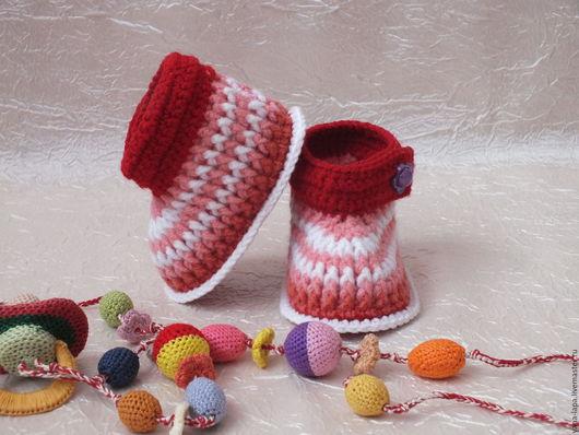 """Детская обувь ручной работы. Ярмарка Мастеров - ручная работа. Купить Пинетки детские """"Зефирки"""". Handmade. Разноцветный, пинетки для новорожденных"""