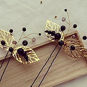 Шпилька ручной работы. Ярмарка Мастеров - ручная работа Шпильки для волос Украшения в прическу с золотыми листьями Аксессуары. Handmade.