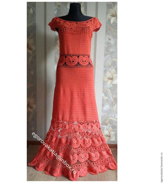 """Платья ручной работы. Ярмарка Мастеров - ручная работа. Купить платье - """"Катарина"""". Handmade. Коралловый, платье вязаное, вязание на заказ"""