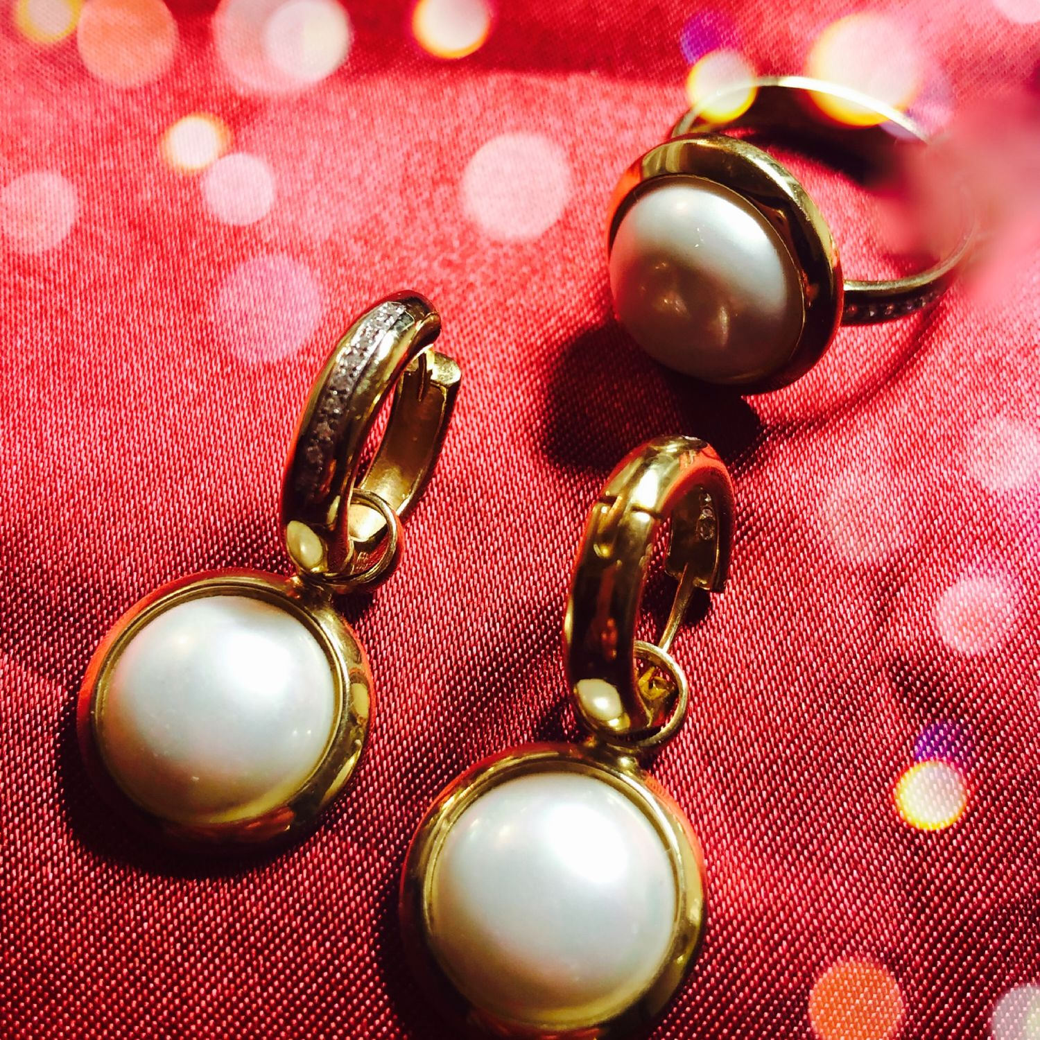 Alma.  Gold earrings and a pearl ring, Jewelry Sets, Moscow,  Фото №1