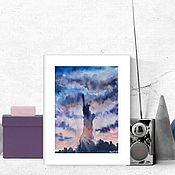 Картины и панно handmade. Livemaster - original item Cityscape watercolor Statue of Liberty new York. Handmade.