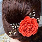 """Свадебный салон ручной работы. Ярмарка Мастеров - ручная работа Заколка для волос """"Яркая с блеском"""" с розой и бусинами. Handmade."""